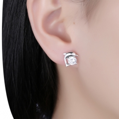 Women Stud Earring with Austrian CZ Crystal Dolphin Earrings for Women Jewelry silver 1.2cm x 1.2cm