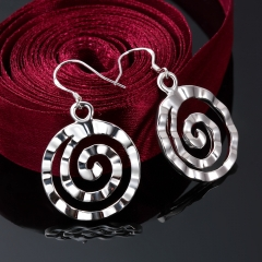 High Quality Dangle Earrings Round Thread Shape Silver Plated Earrings Fashion Silver-Plated Jewelry silver 3.9cm x 2.3cm