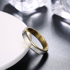 Forever Love Letter Ring Female Steel Ring Bicolor Love Romantic Ring Gold Color Jewelry Silver Ring gold plated size 6