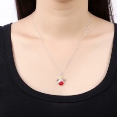 Snowman Pendant Necklace Silver Chain Christmas Necklaces For Women Fashion Jewelry Gift silver 45cm