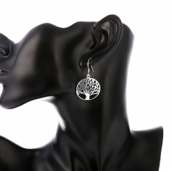 Elegant Silver Tree Of Life Drop Earrings Totem Gift Wife Unique Women Earing Wedding Arbre Argent silver 3.9*2.4 cm