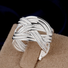 Fashion Women's Jewelry Rings Vintage Twisted Net Open Wedding Bands Mesh Ring silver adjustable
