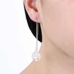 Silver Color Women Wedding Earring Jewelry Tree of Life Girl Gift Cute Fashion Couple Gift Hoop silver 12cm x 1.5cm