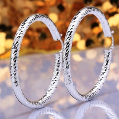 Fashion Silver Plated Earring Women 925 Jewelry Silver Plated for Women Circular Section Prismatic silver 6.1 x0.5cm