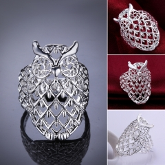 1Pcs Women Animal Owls Personalized Finger Rings Hollow Environmentally Fashion Jewelry silver 2.1*2.9 cm