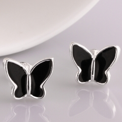 Silver Plated Jewelry Delicate Butterfly Shape Earrings Sweet Black Paint for Women silver 1.2 x1.1 cm