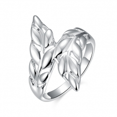 Silver-Plated Ring Silver Fashion Jewelry Women & Men Gift Silver Leaves Feather Finger Rings silver size 8