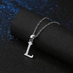 Initial L Letter Pendants & Necklaces Women Men Personalized Gift Alphabet Jewelry Necklace silver 45cm