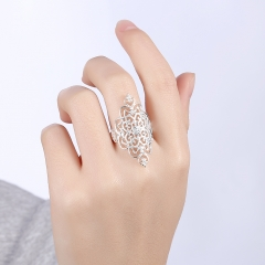 Openwork Hollow Pattern Vintage Rings Silver Plated Unique Jewelry Gift for Women silver size 7