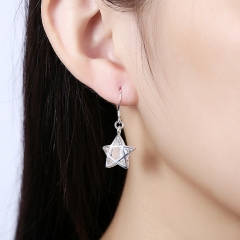 Empty Five-pointed Star Clip-on Earrings Stars Silver Earrings Female Classic Earrings Holiday Gift silver 3.4 x1.5cm