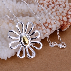 18 inches Necklace Silver Plated Trendy Jewelry Pendant Necklaces Chrysanthemum Jewelry silver 3.2 x3.0 cm