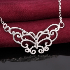 Silver Plated Wedding Jewelry Accessories Fashion Retro Hollow Butterfly Necklaces silver 18 inches