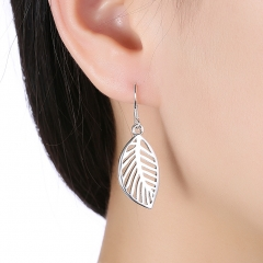 Silver Color Leaf Drop Earrings Alloy Hollow Leaves Dangle Charm Statement Earring Women Jewelry silver 3.6 x1.2 cm