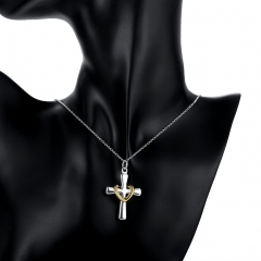 Silver-plated Pendant  Classic Jewelry Color Separation Twisted Golden Love Cross Silver Pendants silver 4.2 cm x2.4cm