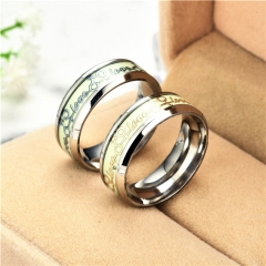 Fashion Couple Ring Nighttime Luminous Eternal Love Ring gold one size