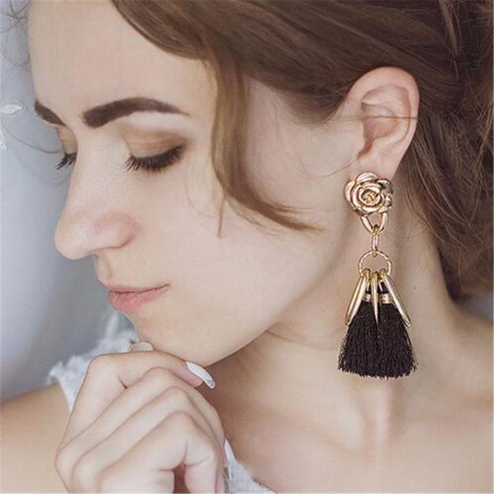 Stylish Long Tassel Earrings for Women Gold Retro Flower Dangle Drop Earring Fashion Jewelry black 10cm