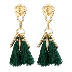 Stylish Long Tassel Earrings for Women Gold Retro Flower Dangle Drop Earring Fashion Jewelry green 10cm