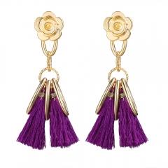 Stylish Long Tassel Earrings for Women Gold Retro Flower Dangle Drop Earring Fashion Jewelry purple 10cm