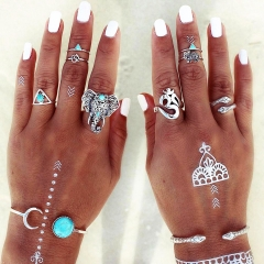 Vintage Elephant Snake Moon Text Turquoise Joint Knuckle Nail Ring Set as picture 23mm x 45mm