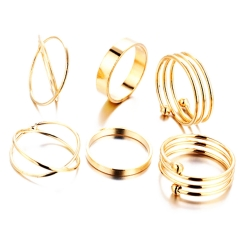 6pcs Stack Rings Glod Plated Ring Knuckle Nail Ring Set gold one size