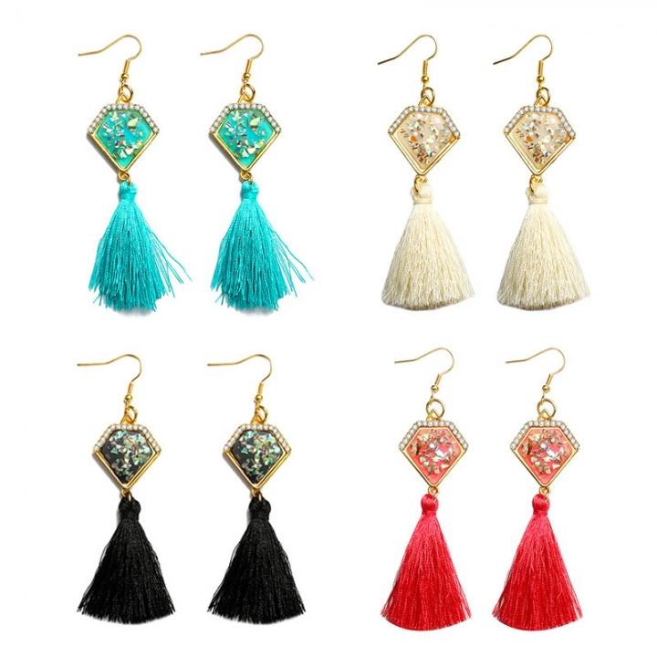 New Women Retro Gems Tassel Earrings Party Jewelry Long Dangle Drop Earrings White 10cm