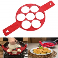 Flippin Fantastic Pancake Maker Egg Ring Maker Easy Quick Kitchen Tool red one size