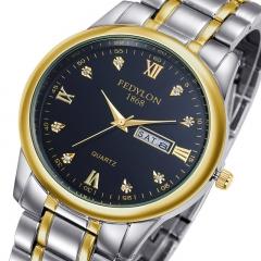 Luxury Brand Top Quality Full Stainless Steel Men Women lovers Day Date Quartz Watch Fashion black Women