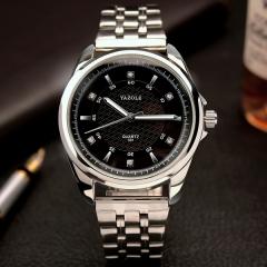 HongC Men's Watch Top Brand Luxury Men Sports Quartz Watches Full Steel Male Army Military black dial steel watchband