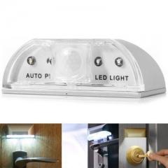 Wireless Auto Sensor Motion Detector Keyhole 4 LED Light Lamp for Key Hole/Door Lock/bed white one size