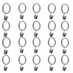 Metal Curtain Rings with Clips 20 Pieces