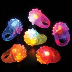 Flashing Bumpy Ring Party Jelly Light Up Finger Ring Toys for Kids Adults 10pcs strawberry one size