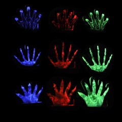 Halloween Glow Glove Cool Light up Toy 3/6 Pack Skeleton,Claw,Vein muti-color *3