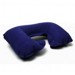 Inflatable Neck Pillow U Shape Portable Ergonomic Train Air Travel Pillow with Ear Plugs Eye Mask blue 1