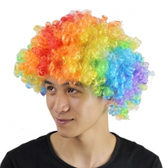 Clown Wig Afro Curly Party Wig Rainbow Multi-color for Sports Fan, Cheerleaders, Carnival, Cosplay, multicolor one size
