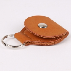 Guitar Picks Holder Case Leather Keychain Plectrum Bag orange one size