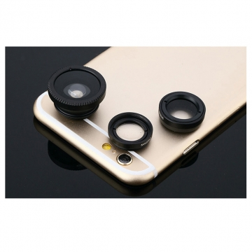 Clip on 3 in 1 Cell Phone Camera Lens Kit Fisheye Lens Wide Angle Lens Macro Lens Universal Fit black