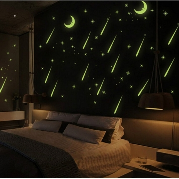 Wall Sticker Fluorescent Moon Stars Luminous Meteor Shower Home Decoration Glow 1 1