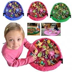 Huimeeting Portable KIDS Play Mat Toy Storage Bag Toys Organizer Rug Box 4 Colors NEF green