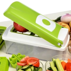 12Pcs Vegetable Fruit Peeler Cutter Multi Chopper Slicer Fruit Kitchen Tools Set Green
