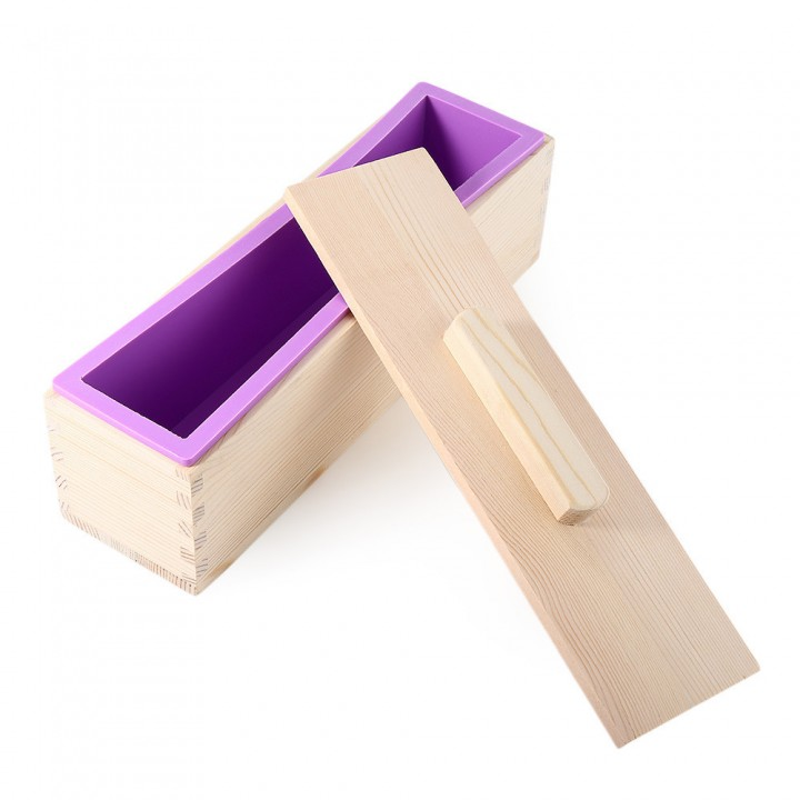 Rectangular Solid DIY Handmade Silicone Soap Crafts Mold Wooden Box with Cover purple 900g