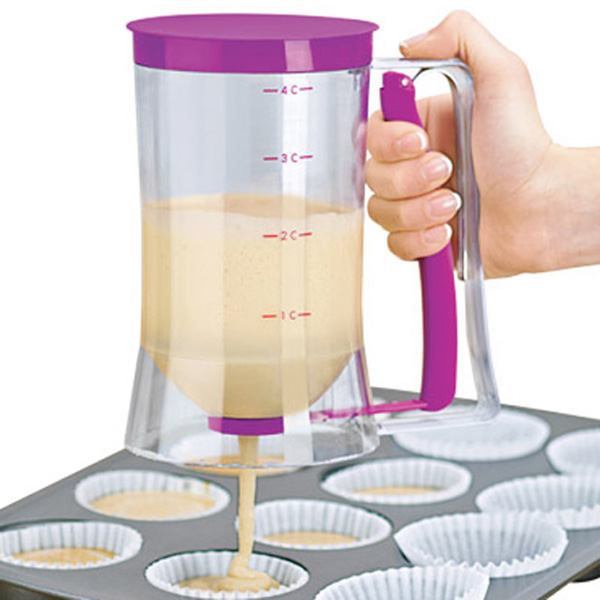 Cake Batter Dispenser with Measuring Label for Cupcakes Muffins purple