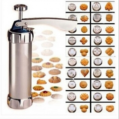 Press Cookie Machine Biscuit Maker Cake Decorating Gun Kitchen Tool 20 Moulds silver normal