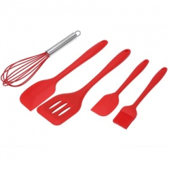 5 in 1 Silicone Baking Utensils Set Spatulas Turner Basting Brush Whisk Kitchen Cooking Tools red normal