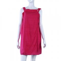 138 x 80CM Women Microfiber Wearable Bathrobe SPA Bath Wrap Towel Fast Dry Washcloth Rose red 138*80CM