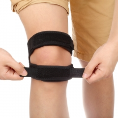 Adjustable Knee Strap Band Support for Outdoor Sports Black As the picture