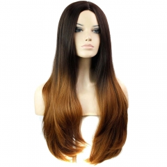 Female Center-parted Slightly Curled Long Full Hair Wigs Heat Resistant Synthetic Fiber Black+Brown Medium