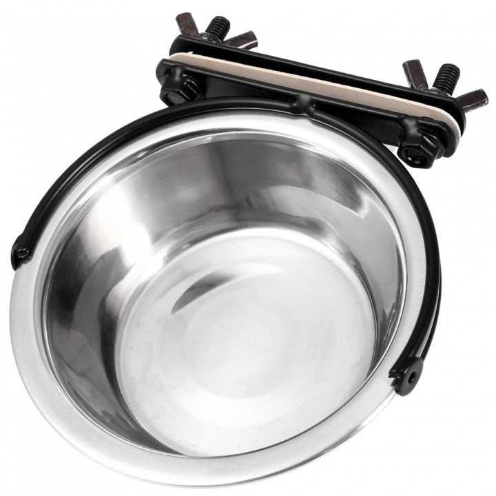 Stainless Steel Hanging Pet Food Bowl Cage Coop Cup for Animal silver XS