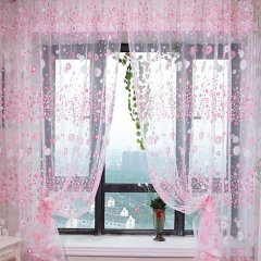 100cm x 270cm Chiffon Gauze Voile Wall Room Divider Floral Printed Curtain Pink 270*100cm