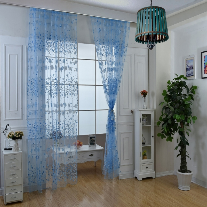 100cm x 270cm Chiffon Gauze Voile Wall Room Divider Floral Printed Curtain Blue 270*100cm
