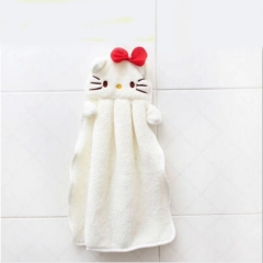 Lovely Hanging Type Absorbent Hand Dry Towel for Kitchen Bathroom white Cat As picture